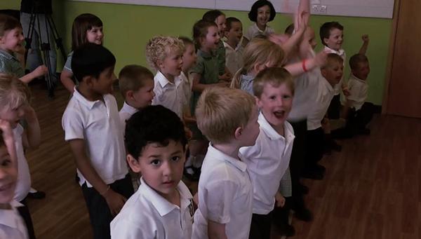 Valley Infants children greeting Mr Wizzle